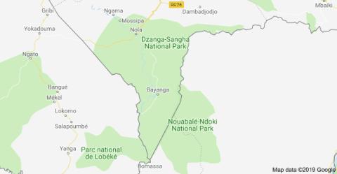 Mapa Dzanga Sangha
